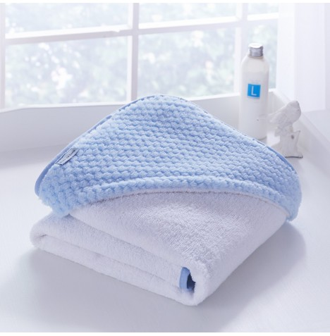 Clair De Lune Luxury Hooded Towel - Honeycomb Blue